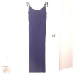 Dark Blue Maxi Dress With Side Slit